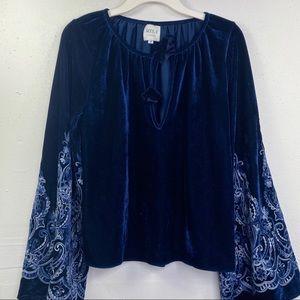 Misa Velvet Blue embroidered Medium